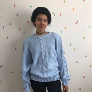 Vintage 80s baby powder blue classic knit sweater